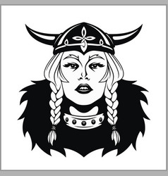 Viking woman warrior vector