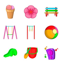 walking in children park icons set cartoon style vector image vector image