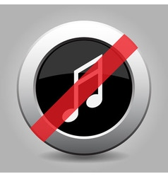 Gray chrome button - no musical note vector