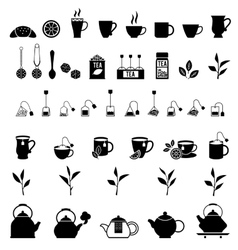Black tea icons set vector