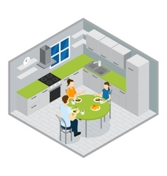 Family meal isometric design vector