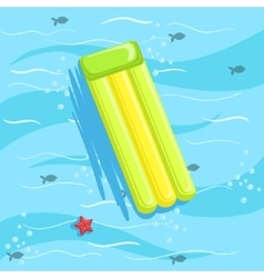 Green Inflatable Matrass With Blue Sea Water On vector image