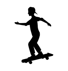 silhouette guy cap young skating vector image