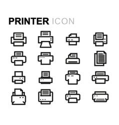 Line printer icons set vector