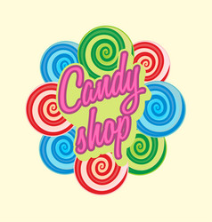 Candy shop logo sign or symbol template sweet vector