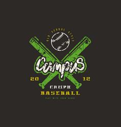 emblem of baseball campus team vector image