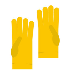 yellow rubber gloves icon isolated vector image