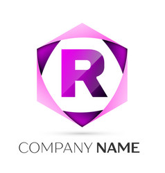 letter r symbol in the colorful hexagonal vector image