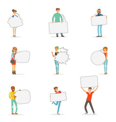 Man and woman standing and holding blank speech vector
