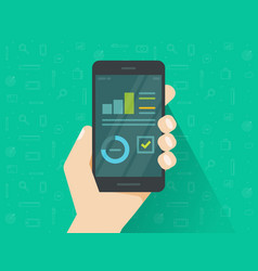 Analytics data on mobile phone screen vector