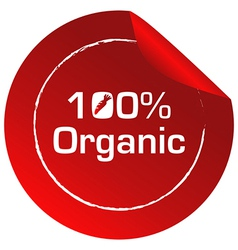 A red round template with an organic label vector