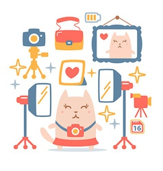 Character photographer with a camera colorful flat vector