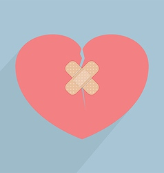 Broken heart with bandage vector