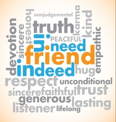 Friendship word cloud vector