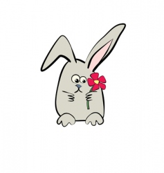 hare with flower cartoon vector image