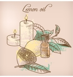Lemon essential oil and candles vector