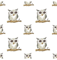 Seamless pattern with doodle owl vector