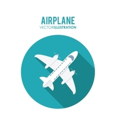 Airplane over circle design vector