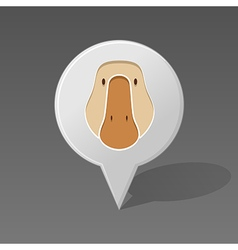 Goose pin map icon animal head vector