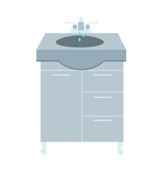 Washbasin and faucet with water drop at home vector