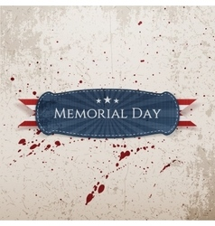 Memorial day realistic banner and ribbon vector