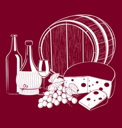 Wine cheese vector