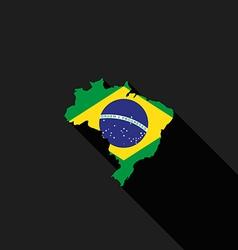Brazil flag map flat design icon vector image vector image