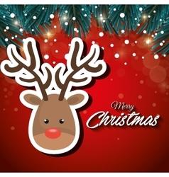 Cartoon reindeer face merry christmas vector