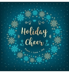 Christmas Holiday Cheer card Christmas wreath vector image vector image