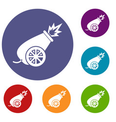 Circus cannon icons set vector