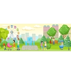 City Park With People Composition vector image