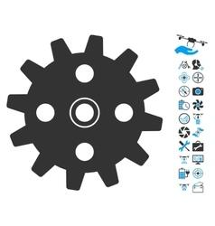 Cogwheel icon with copter tools bonus vector