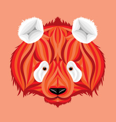 Fire panda picture of fire bear with white ears vector