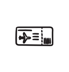 Flight ticket sketch icon vector