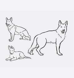 German shepherd dog pet animal sketches vector