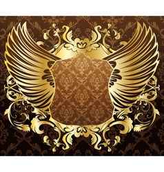 Gold shield with wings vector