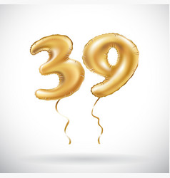 Golden number 39 thirty nine metallic balloon vector