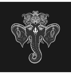 Hand drawn elephant head indian god lord hindu vector