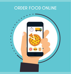 Hand holding mobile smart phone with delivery vector