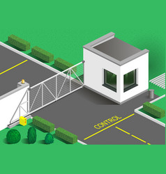 isometric building guards vector image vector image