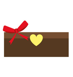 Love cardboard box bow romance present vector