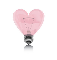 love pink bulb in the shape of heart vector image