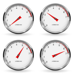 Manometer round gauge with metal frame different vector