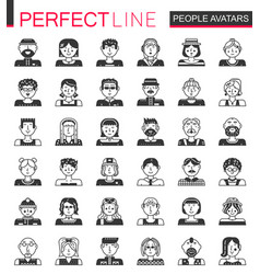 people avatars classic black concept icons vector image vector image