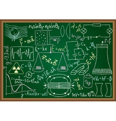 Physical doodles and equations on chalkboard vector
