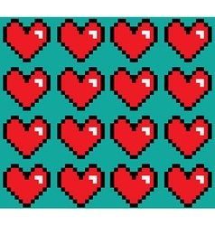 Pixelated hearts seamless pattern vector