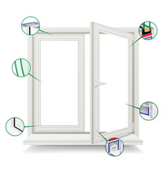 plastic window window frame structure vector image