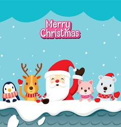Santa claus and animals on roof vector