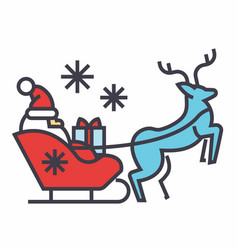 Santa claus in a sleigh with a deer concept line vector