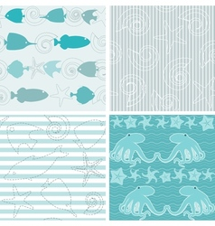 Sea life patterns collection 4 vector image vector image